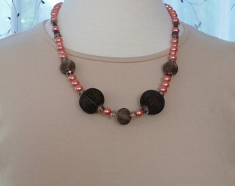 """Necklace of black mesh balls, melon pearls, champagne crystals and brown beads 23"""""""