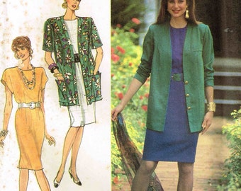 Tapered Dress and Jacket Simplicity 7101 Misses Sewing Pattern Full Figure Plus Size 16 18 20 22 24 Bust 38 40 42 44 46