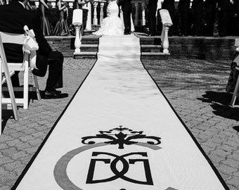 Aisle Runner, Wedding Aisle Runner, Custom Aisle Runner with Monogram and Glitter//Quality Fabric Won't Tear- Use again at Reception