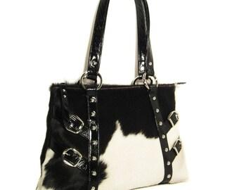 Black & White Handbag using Genuine Hair-on Cow Hide