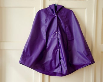 Violet  Rain Coat,  Vintage Inspired Cape with Hood, Waterproof, Gift For Her, Available in Green Apple, Orange, Yellow, Sky Blue
