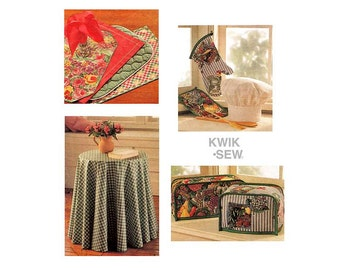 Country Kitchen Decor Craft Pattern Kwik Sew 2284 Chefs Hat, Toaster Cover, Place Mats, Pot Holder,  Round Tablecloth, Uncut DIY Home Decor