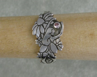 silver fairy flower garden ring with pink cubic zirconia DTPD PMC