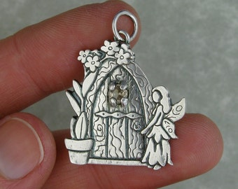 Fairy door silver yellow sapphire forget me not flower pendant charm PMC DTPD