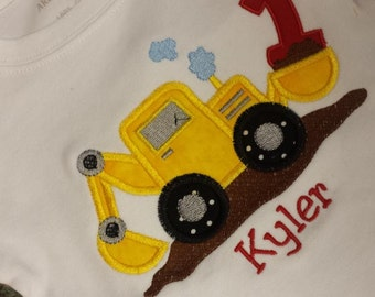 Birthday Back Hoe Number Shirt Boutique Custom Personalized