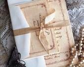 Vintage Wedding Invitation with Tulip Border Handmade SAMPLE by avintageobse4ssion on etsy