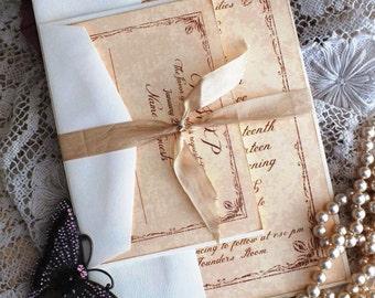 Vintage Wedding Invitation with Tulip Border Handmade SAMPLE by avintageobsession on etsy
