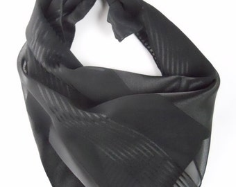 "CEJON BLACK STRIPES dramatic scarf, 20"" inches square"