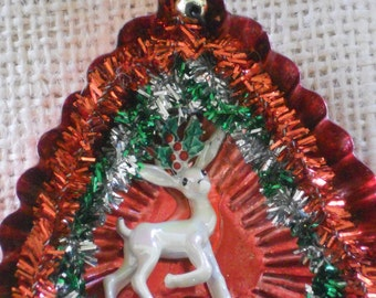 Vintage tart Tin Ornament, Embellished Tart Tin Christmas Ornament, OOAK Ornament