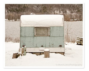 Mid-Century Camper Trailer Photography, Landscape Photography, Winter Decor Snow, Upstate New York,  teal blue, Mid-century modern