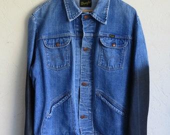 The Vintage Wrangler Dark Wash Wax Dipped Sleeved Jean Jacket