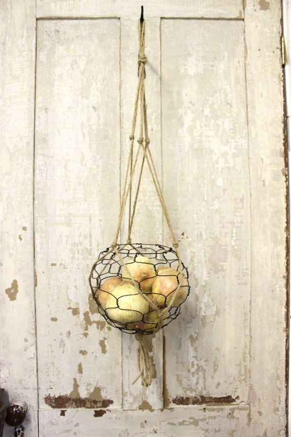 Hanging Wire Basket With Macrame Hanger