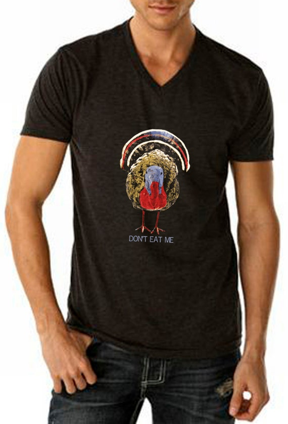 "Vegan t-shirt designs: Thanksgiving ""Don't eat me"""