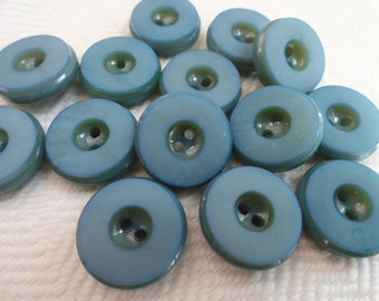 Indigo Vintage Buttons - 6 Mid Century Blue Suit Buttons 3/4 inch 19mm for Jewelry Beads Sewing Knitting