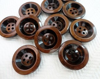 French Chocolate Vintage Buttons - 6 Superb Quality Mid Century Plastic