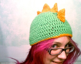 Dinosaur Hat, Crochet Beanie - Kid Size
