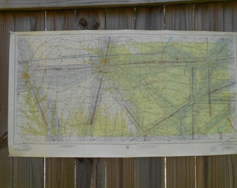 1950s Era Sectional Aeronautical Charts - Buyers Choice of 7 Maps - IA, NC, OH, etc.