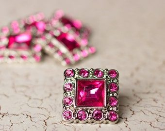 Square Rhinestone Buttons -  5  Hot Pink Buttons - Logan Button - 28mm - Plastic Buttons - Acrylic Buttons