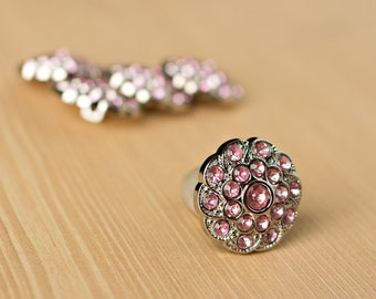 Light Pink Rhinestone Buttons - 5 Acrylic Buttons - Shelley Button - 25mm - Plastic Buttons - Acrylic Buttons