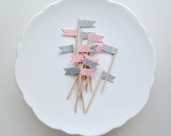 Oh, little darling topper series. Gift, cupcake and cake topper. Light pink and silver.