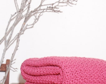 Ready to Ship  Beautiful and Luxuriously Handcrafted CROCHET Blanket Throw ROSE  PINK