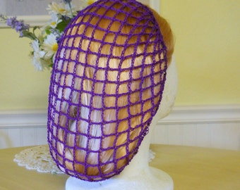 1940s Style Snood Hair Net - Purple