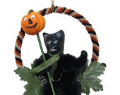 """Mixed Media Sculpture Ornament Inspired by Vintage Japanese and German Hallowe'en Chenille Ornaments - """"Black Cat and Parade Lantern"""""""