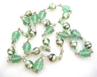 Clearance Sale - Chocolate Chip Mint - Caged Beaded Glass Necklace