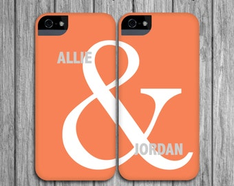 2 Best Friend iPhone Cases - Coral and Gray, Typography Mix and Match, iPhone or Galaxy Cases BFF