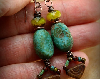 Copper Wrapped Turquoise Pods with Tiny Beaded Dangles - Rustic Earrings