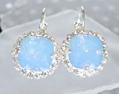 Large Gorgeous Powder Blue Square Crystals Surrounded with Pave Cubic Zirconia on Leverback Earrings in Silver