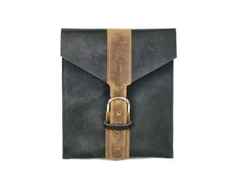 Leather iPad Sleeve - Black Envelope Tablet Cover Carry Case