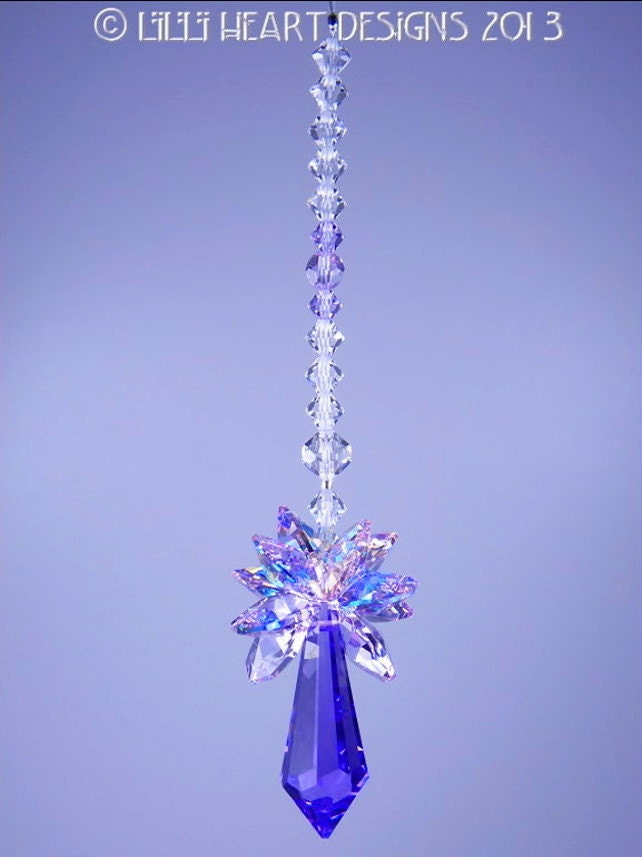 M W Swarovski Crystal Pendulum Suncatcher Rare Ab Violet