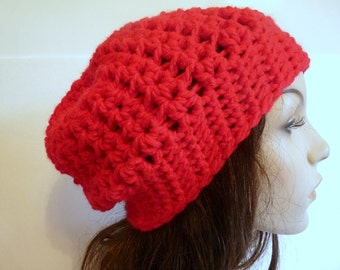 Crochet Slouchy Hat in Red for Fall and Winter, Sized for Teens and Adult Women