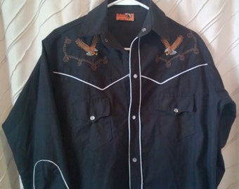 Vintage Western Shirt with Embroidered Eagles, Gauntlet Cuffs, Pearl Snaps and Piping