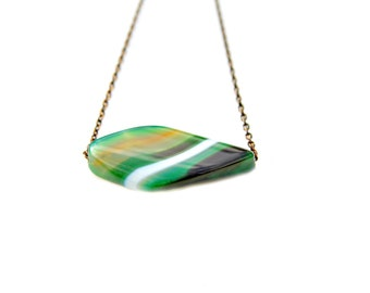 Agate Pendant Necklace, Marquise Cut Pendant, Green Agate, Floating Pendant Necklace, Woodland Style, High Fashion Flare by Mei Faith