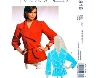 Double Breasted Jacket Pattern McCalls 5816 Princess Seam Lined Jacket Notched Collar Womens Sewing Pattern Size 6 to 14 UNCUT