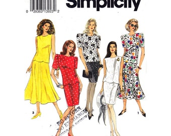 Scalloped Top & Slim or Flared Skirt Pattern Simplicity 8359 Two Piece Dress Womens Sewing Pattern Size 12 14 16 UNCUT