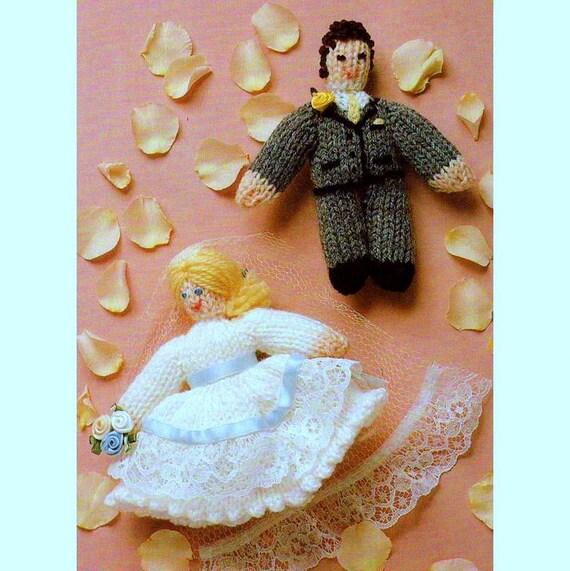 Knitting Cake Toppers : Digital download pdf vintage knitting pattern bride and groom