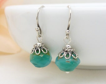 Small turquoise earrings in sterling silver, blue green and teal czech glass bead earrings, beaded jewelry
