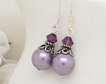 Purple bridesmaid earrings, Lilac lavender purple pearl earrings, Sterling silver bridesmaid drop earrings, Purple pearl jewelry