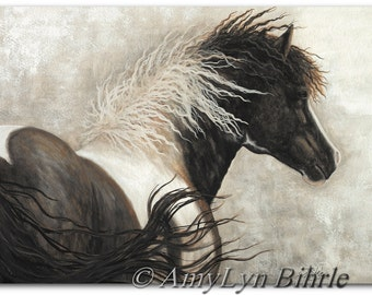 Majestic Horses -Curly Paint Pinto -Fine ArT Equine Prints by Bihrle mm68