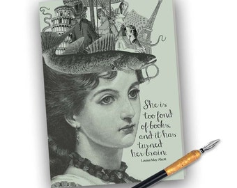 She is Too Fond of Books- Louisa May Alcott  Card - Digital Download -  5x7 Downloadable Note Card