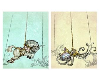 Print Set Steampunk Carousel  - Unicorn - Art Print  - giclée Fantasy Art - Steampunk Art - gold - silver - turquoise - ocean - octopus