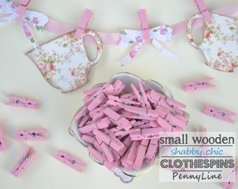25 Small Wood Clothespins Dusty Pink - Mini wooden clothes pins - Baby Shower tags Favors
