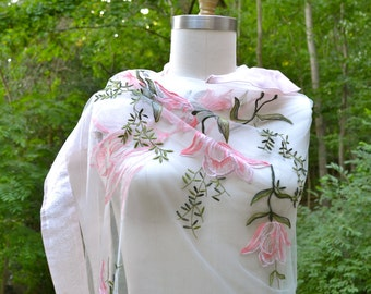 Embroidered tulle wedding Capelet /Shoulder Wrap /Shawl with taffeta ruffle and silk brocade borders