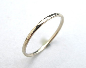 Solid 14k White Gold Skinny Stacking Ring - Single Skinny 14kt Gold Stacking Ring in White Gold with Shiny, Matte, or Hammered Finish