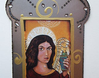 Archangel Raphael, Mixed Media Steel Collage using Print from my Original Icon, Christina Miller artist