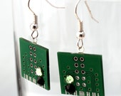 Upcycled PCB printed circuit board earrings with Swarovski crystal rhinestone accents- Geek chic jewelry