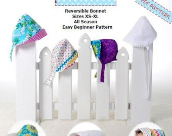 Summer Sunbonnet -  Heirloom Bonnet - Sew Modern  Reversible Bonnet -  Funky and Mod Style - PDF Sewing Pattern - Summer Hat - 3 Versions